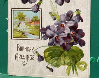 Birthday Greetings * Purple Violets * Rural River Scene * 1900s * Canceled Stamp * Victorian * Antique Postcard