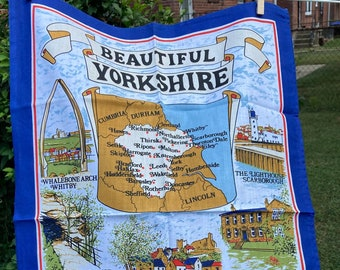 Beautiful Yorkshire * Whalebone Arch * Harrowgate * Bolton Abbey * Scarborough Lighthouse *  Vintage Souvenir Tea Towel