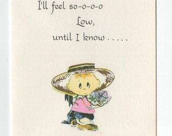 Get Well Card * Girl with Flower * Feel so Low * Pert N Pretty Series * Unused * Vintage