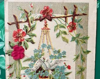 Birthday Greetings * Two Birds * Hanging Basket * Flowers * 1909 * Victorian Postcard