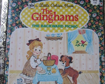 The Ginghams: The Backward Picnic * A Little Golden Book * First Edition * Joan Chase Bowden * JoAnne E. Koenig * 1976 * Vintage Kids Book