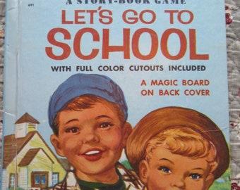 Let's Go To School A Story-Book Game + Annette Edwards + Hazel Hoecker + Wonder Books + 1954 + Vintage Kids Book