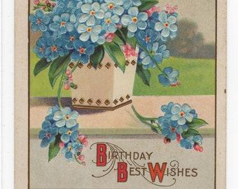 Birthday Best Wishes * Pretty Blue Flowers Victorian Era * Early 1900s * Vintage Postcard