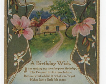 A Birthday Wish * Pretty Floral Frame with Rural Scene * Unused Victorian Era * Early 1900s * Vintage Postcard