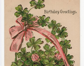 Birthday Greetings * Lucky Clover with Pink Bow and Basket * Canceled Stamp * 1906 Victorian Era * Early 1900s * Vintage Postcard
