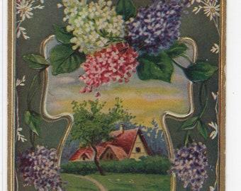 Birthday Greetings * Lilacs * Pretty Rural Scene Victorian Era * Early 1900s * Vintage Postcard