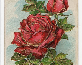 Birthday Greeting * Pretty Rose with Gold Accents Victorian Era * Early 1900s * Vintage Postcard