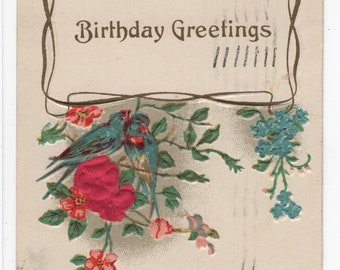 Birthday Greetings * Pretty Red and Blue Flowers * Silk Accents * Canceled Stamp * 1914 * Victorian Era * Early 1900s * Vintage Postcard