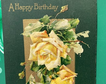 A Happy Birthday * Pink Roses * Gold and Green Background * 1909 * Canceled Stamp * Victorian Postcard