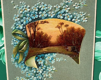 Birthday Greetings * Blue Flowers * Rural Scene * 1908 * Canceled Stamp * Victorian * Antique Postcard