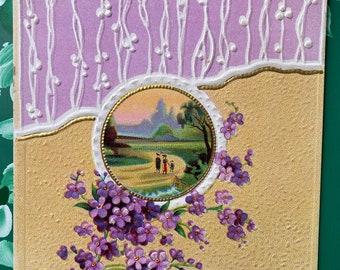 Joyous Birthday * Pretty Purple Flowers * 1911 * Victorian * Antique Postcard0Postcard