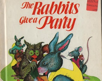 The Rabbits Give A Party * Lucie Dermine * Simonne Baudoin * Wonder Books * 1981 * Vintage Kids Book