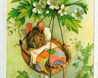 Rock-A-bye Baby * Mouse Bed * 370 * Racey Helps * The Medici Society * Great Britain * Vintage Postcard