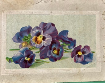 Purple Pansies * Good Wishes * Happy Birthday * 1912 * Victorian * Antique Postcard