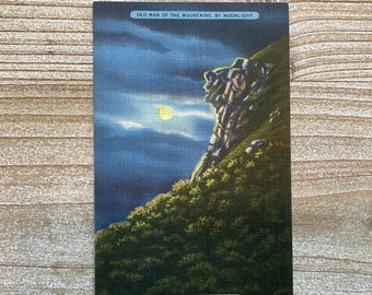 Old Man of the Mountains By Moonlight * White Mountains * New Hampshire * Cancelled Stamp * 1938 * Vintage Postcard