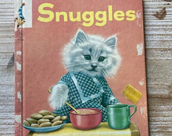Snuggles * a Real Live Animal Book * Elf Book * Ruth Dixon * Harry Whittier Frees * Rand McNally * 1968 * Vintage Kids Book0541