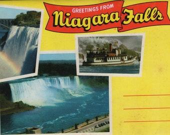 Greetings From Niagara Falls * New York * Mirro Krome * Vintage Souvenir Folder