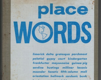 Place Words * Bill Severn * Ives Washburn, Inc * 1969 * Vintage Reference Book