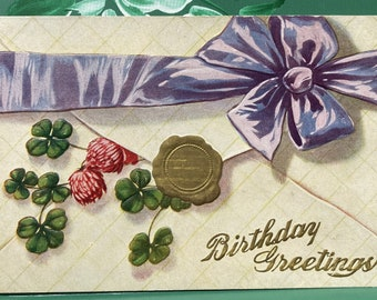 Birthday Greetings * Clover * Sealed Envelope * 1900s  * Victorian * Antique Postcard