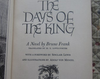 The Days of the King * Bruno Frank * Adolf Von Menzel * The Readers Club * 1943 * Vintage History Book