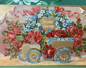 Birthday Greetings * Automobile * Roses * 1900s * Victorian * Antique Postcard