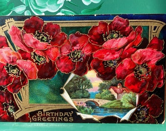 Birthday Greetings * Red Flowers * Rural Scene * 1900s * Victorian * Antique Postcard