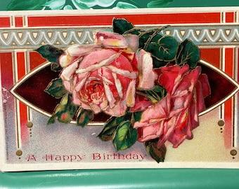 Happy Birthday * Pink Roses * Unused * 1900s * Victorian * Antique Postcard