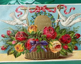 Birthday Greetings * Two Birds * Roses * Unused * Victorian * Antique Postcard 2020Postcard
