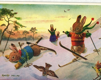 Fun On Skis * Rabbits * Snow * 220 * Racey Helps * The Medici Society * Great Britain * Vintage Postcard