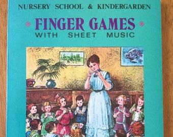 Nursery School & Kindergarden Finger Games with Sheet Music * Cornelia C. Roeske * Merrimack Publishing Corp * Vintage Kids Book