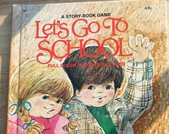 Let's Go To School * A Story-Book Game * Annette Edwards * Hazel Hoecker * Wonder Books * 1977 * Vintage Kids Book