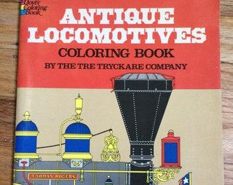 Antique Locomotives * The Tre Tryckare Company * Dover Publications * 1976 * Vintage Coloring Book