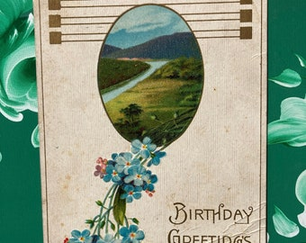 Birthday Greetings * Blue Flowers * Mountain Scene * 1900s * Canceled Stamp * Victorian * Antique Postcard