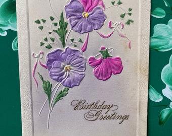 Birthday Greetings * Pink and Purple Pansies * Unused * 1900s * Victorian * Antique Postcard