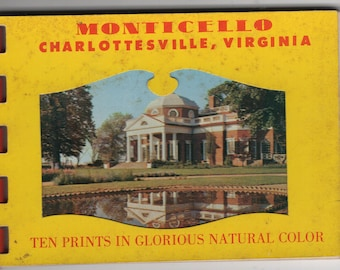 Monticello * Thomas Jefferson * Charlottesville * Virginia * Vintage Miniature Cards * Postcard Book Souvenir Folder