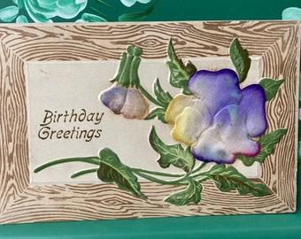 Birthday Greetings * Silk Flower * 1900 * Canceled Stamp * Victorian * Antique Postcard