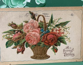 Happy Birthday * Basket of Roses * Printed in Germany * Canceled Stamp * Victorian * Antique Postcardard