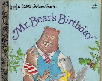 Mr Bear's Birthday * A Little Golden Book * Veva Wilcox * Lyn McClure Butrick * Western Publishing * 1981 * Vintage Kids Book