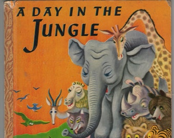 A Day in the Jungle * A Little Golden Book * Janette Sebring Lowrey * Tibor Gergely * Simon & Schuster * 1946 * Vintage Kids Book