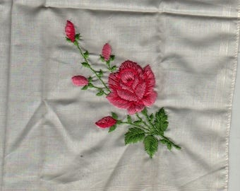 Pink Rose Embroidered Handkerchief + Vintage Linens