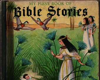 My First Book of Bible Stories a Little Golden Book + Mary Ann Walton + Emmy Ferand + 1943 + Vintage Religious Book