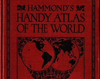 Hammonds Handy Atlas of the World + 1933 + Vintage Reference Book