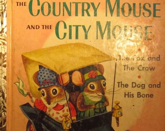 The Country Mouse and the City Mouse a Little Golden Book + Patricia Scarry + Richard Scarry + 1961 + Vintage Kids Book