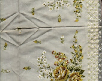 Yellow Rose and Daisy Handkerchief + Vintage Linens