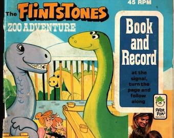 Flintstones Zoo Adventure Book and Record * Horace J Elias * 1974 * Vintage Record & Book
