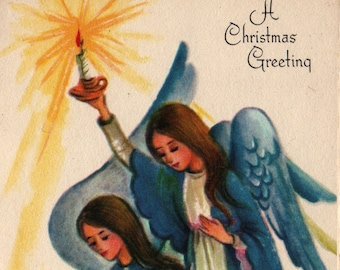 Angels With Baby Jesus * A Christmas Greeting * Vintage Christmas Card