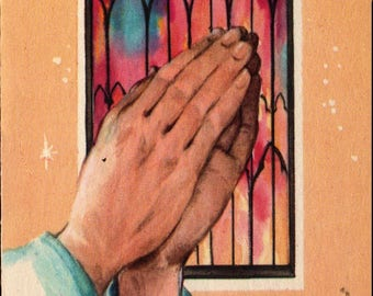 Hands Praying + Christmas Blessing + Vintage Christmas Card