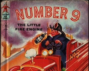 Number 9 The Little Fire Engine + Wallace Wadsworth + Eleanor Corwin + 1950 + Vintage Kids Book