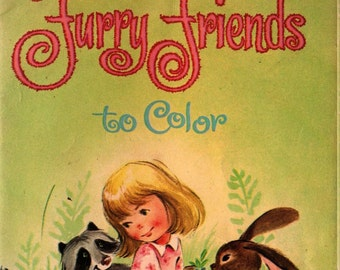 Furry Friends to Color - Louise Gordon - 1966 - Vintage Kids Book