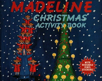 Madeline Christmas Activity Book with Reusable Vinyl Stickers + Ludwig Bemelmans + 1998 + Vintage Kids Book